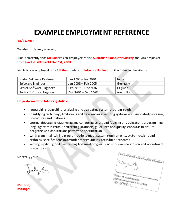 simple reference letter format